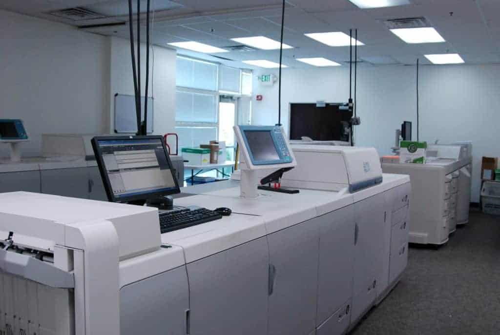 Eye level view of the high quality printers at Skymail International