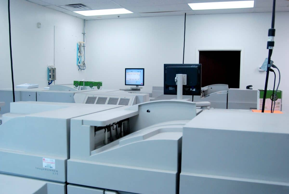 Two of Skymail International's high tech printing machines