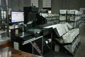 A front view of the EZ-flats sorter Skymail International uses.