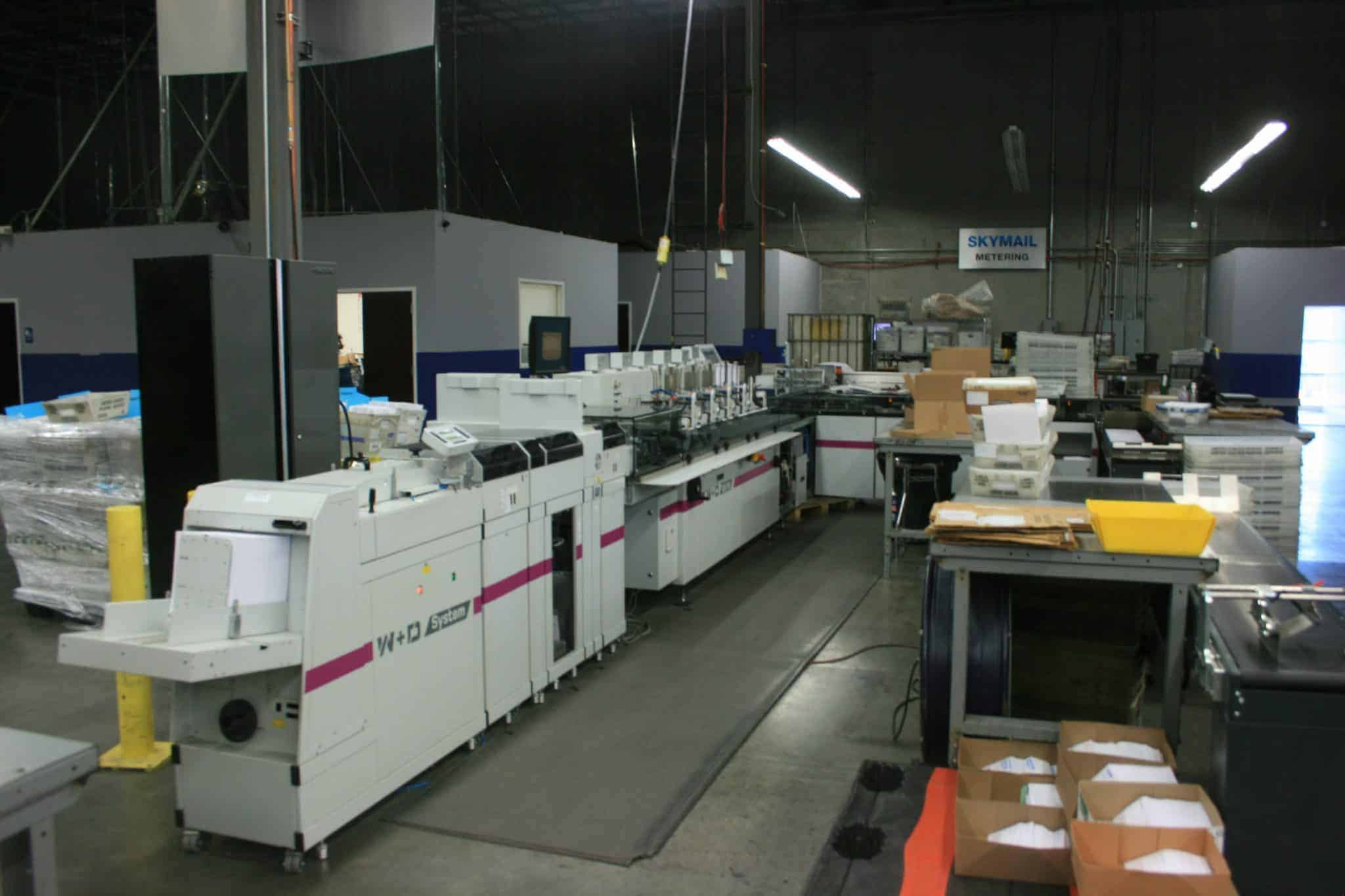 Picture of W+D BB700 envelope inserting system that Skymail International uses.