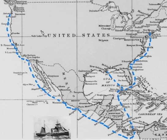 Route used by steamboat to get mail across the United States