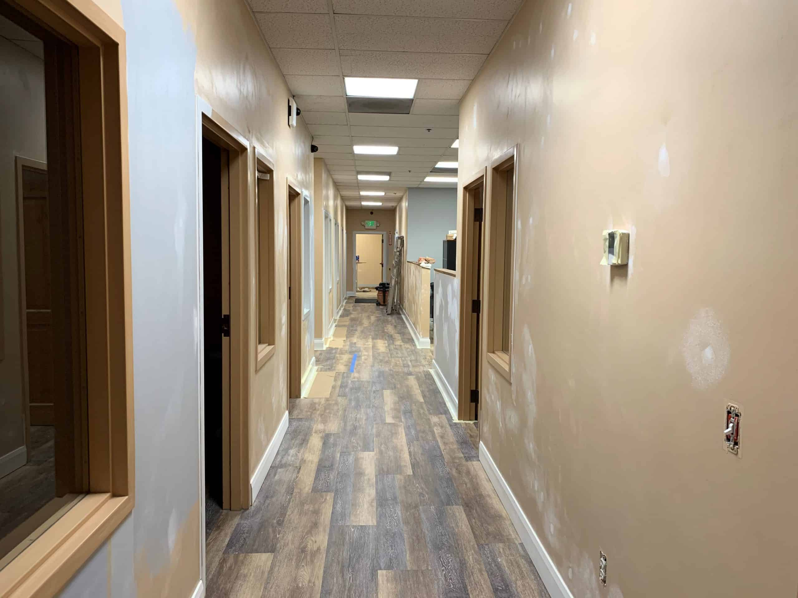 Photo of Skymail's hallway during renovations.